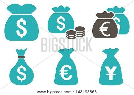 Money Bag vector icons. Pictogram style is bicolor grey and cyan flat icons with rounded angles on a white background.