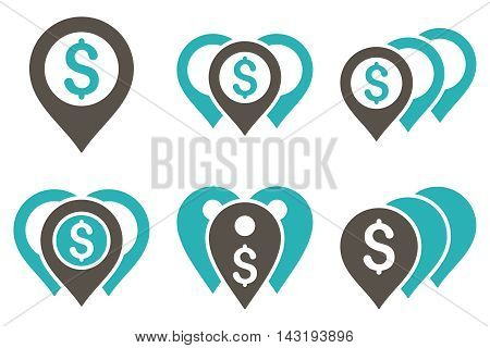 Money Map Markers vector icons. Pictogram style is bicolor grey and cyan flat icons with rounded angles on a white background.