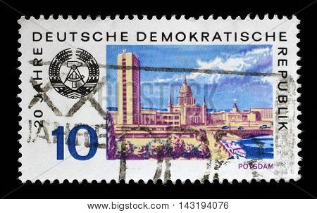 ZAGREB, CROATIA - JULY 02: a stamp printed in GDR shows View of Potsdam, circa 1969, on July 02, 2014, Zagreb, Croatia