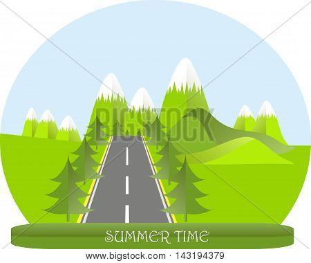 Series four seasons. Mountain landscape, road in summer time, fir trees. Modern flat design, design element, vector