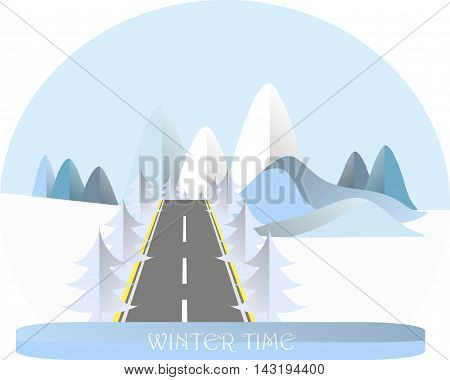 Series four seasons. Mountain landscape with road in winter time, fir trees. Modern flat design, design element, vector