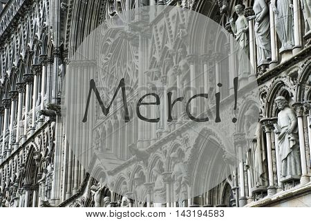 Church Of Trondheim In Norway. Macro Or Close Up Of Sculptures Or Statue. Religious Greeting Card. FrenchText Merci Means Thank You