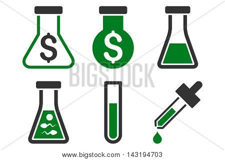 Alchemy vector icons. Pictogram style is bicolor green and gray flat icons with rounded angles on a white background.