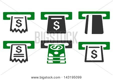 Automated Cashier vector icons. Pictogram style is bicolor green and gray flat icons with rounded angles on a white background.