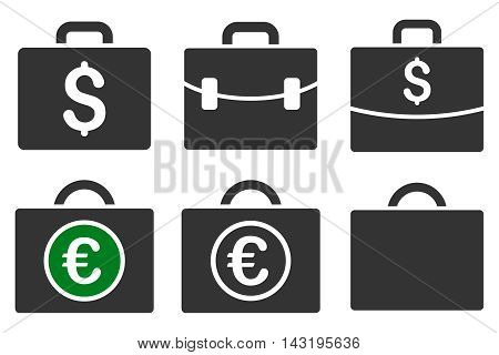 Business Case vector icons. Pictogram style is bicolor green and gray flat icons with rounded angles on a white background.