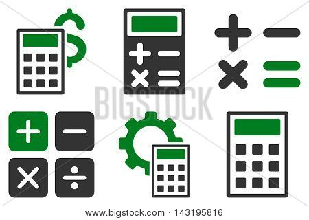 Calculator vector icons. Pictogram style is bicolor green and gray flat icons with rounded angles on a white background.