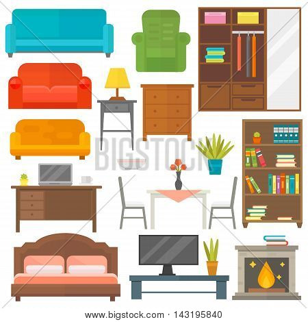 Furniture and home decor icon set vector illustration. Indoor cabinet interior room library, office bookshelf furniture icons.