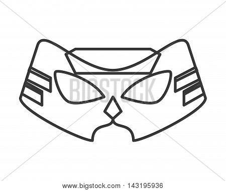 mask silhouette costume superhero superman hero cartoon anime male icon. Flat and Isolated illustration. Vector illustration