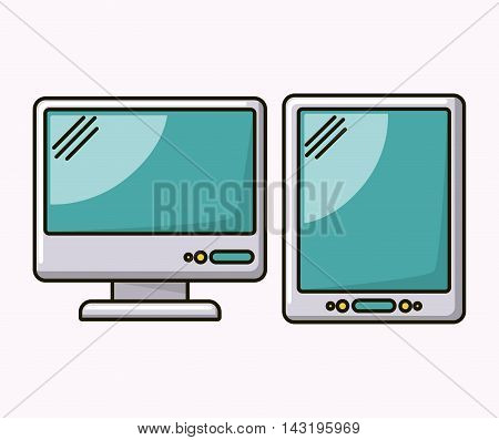 computer desktop and tablet isolated icon vector illustration design