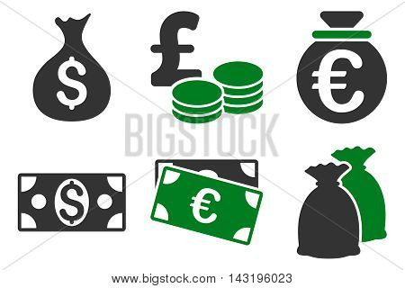 Cash Money vector icons. Pictogram style is bicolor green and gray flat icons with rounded angles on a white background.