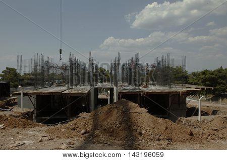 groundbreaking land homemade .  cast iron construction site