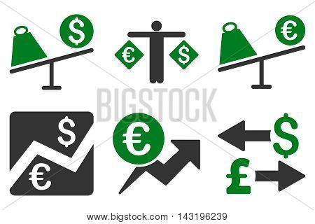 Currency Trading vector icons. Pictogram style is bicolor green and gray flat icons with rounded angles on a white background.
