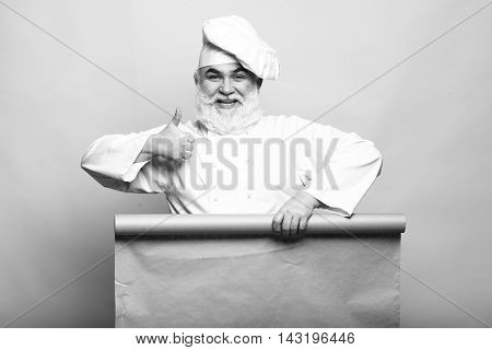 Chef Man With Empty Paper
