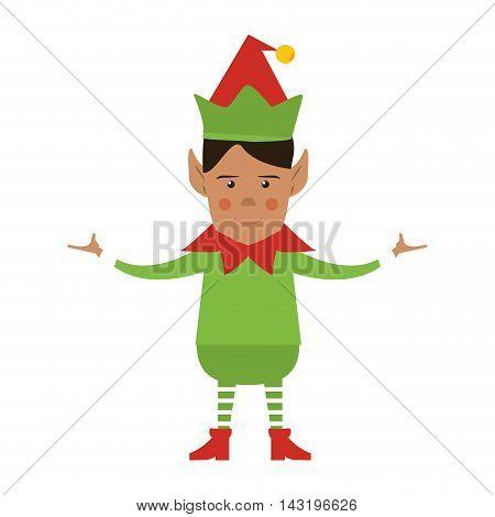elf cartoon merry chistmas celebration icon. Flat and Isolated illustration. Vector illustration