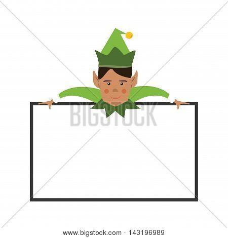 elf board cartoon merry chistmas celebration icon. Flat and Isolated illustration. Vector illustration