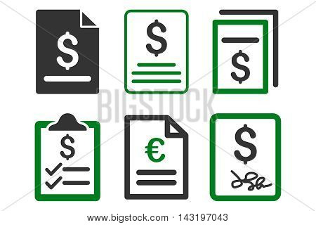 Invoice vector icons. Pictogram style is bicolor green and gray flat icons with rounded angles on a white background.