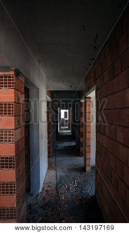 room made of bricks in the corridor