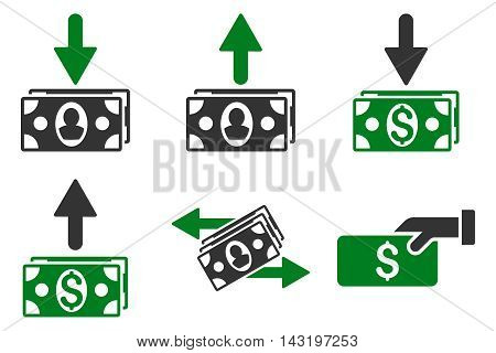 Pay Banknotes vector icons. Pictogram style is bicolor green and gray flat icons with rounded angles on a white background.