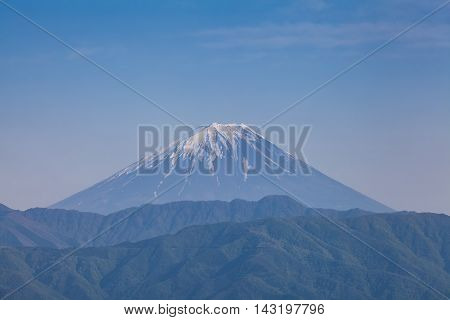 Top of Mt. Fuji in spring seen from Kofu city