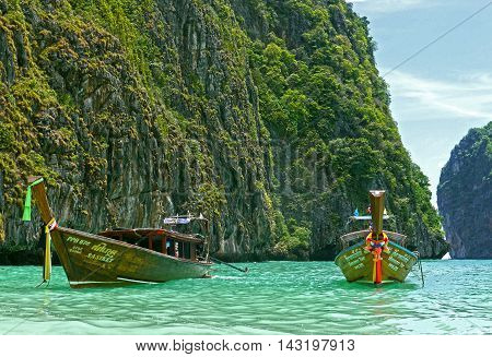 Phi Phi Islands / Thailand - August 09, 2015 - View of Maya Bay.