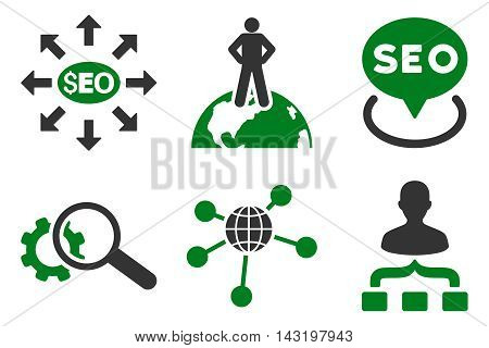 Seo Marketing vector icons. Pictogram style is bicolor green and gray flat icons with rounded angles on a white background.