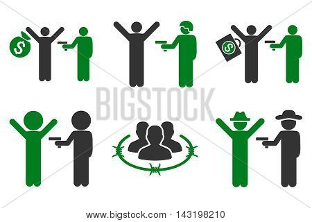 Thief Arrest vector icons. Pictogram style is bicolor green and gray flat icons with rounded angles on a white background.