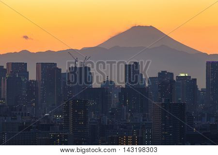 Mount Fuji and Tokyo city view in sunset time