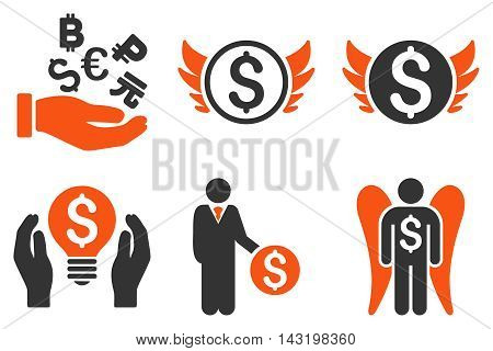 Angel Investor vector icons. Pictogram style is bicolor orange and gray flat icons with rounded angles on a white background.