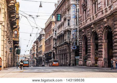 Via Xx Settembre Colonnade In Genoa (hdr)