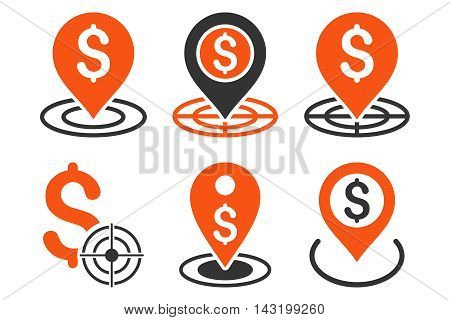Business Goal vector icons. Pictogram style is bicolor orange and gray flat icons with rounded angles on a white background.