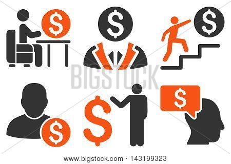 Businessman vector icons. Pictogram style is bicolor orange and gray flat icons with rounded angles on a white background.