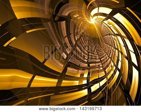 Abstract tech background - digitally generated image. Technology style tunnel with light effects and grid. Fractal geometry. Digital art for web design, prints, covers.
