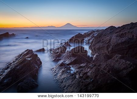 Mt.Fuji and sea in winter season seen from Jogashima Island Kanagawa prefecture