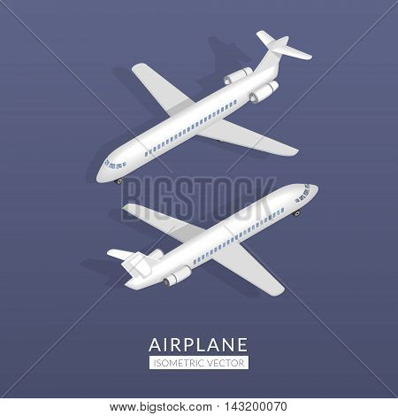 Set with airplane icons. Flat vector isometric illustration with transport