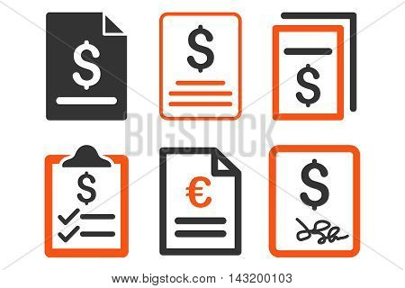 Invoice vector icons. Pictogram style is bicolor orange and gray flat icons with rounded angles on a white background.