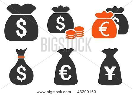 Money Bag vector icons. Pictogram style is bicolor orange and gray flat icons with rounded angles on a white background.