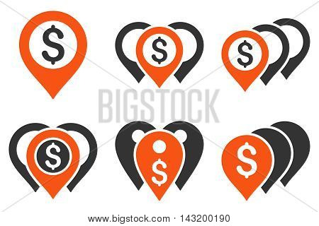 Money Map Markers vector icons. Pictogram style is bicolor orange and gray flat icons with rounded angles on a white background.