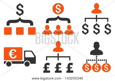 Payment Collector vector icons. Pictogram style is bicolor orange and gray flat icons with rounded angles on a white background.