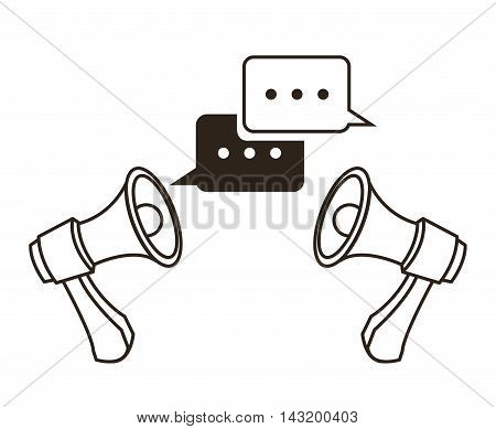 megaphone bubble communication sketch icon. Black white isolated design. Vector illustration