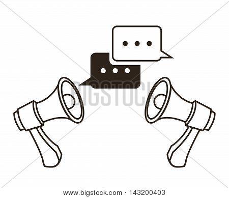 megaphone bubble communication sketch icon. Black white isolated design. Vector illustration