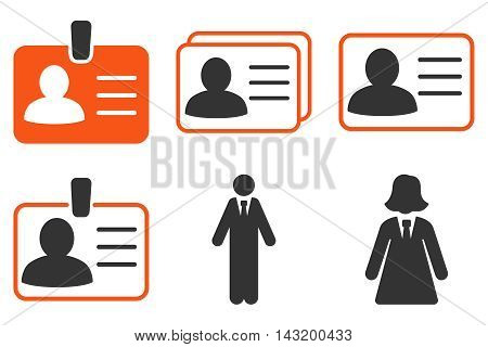Person Account Card vector icons. Pictogram style is bicolor orange and gray flat icons with rounded angles on a white background.