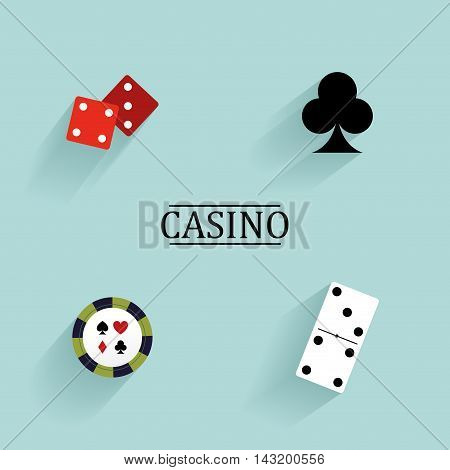 Abstract Casino objects on a blue background