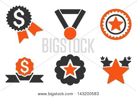 Reward vector icons. Pictogram style is bicolor orange and gray flat icons with rounded angles on a white background.