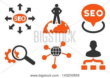 Seo Marketing vector icons. Pictogram style is bicolor orange and gray flat icons with rounded angles on a white background.