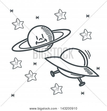 stars planet ufo space sketch icon. Black white isolated design. Vector illustration