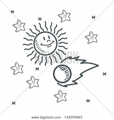 stars sun asteroid space sketch icon. Black white isolated design. Vector illustration