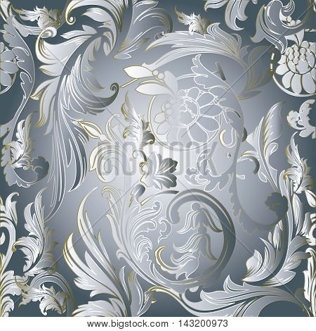 Baroque luxury light vector light seamless pattern background with vintage volumetric flowers and ornaments. Stylish  illustration and 3d decor elements with shadow and highlights. Endless elegant  texture.