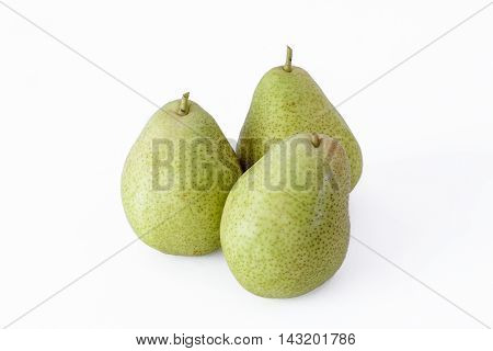 Three Green Pears on a white background