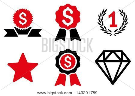 Award vector icons. Pictogram style is bicolor intensive red and black flat icons with rounded angles on a white background.