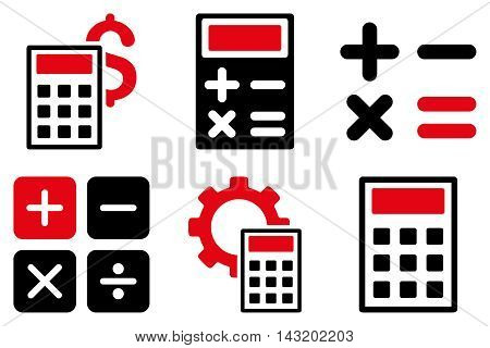 Calculator vector icons. Pictogram style is bicolor intensive red and black flat icons with rounded angles on a white background.